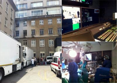 The broadcast set up at Santa Maria Hospital, Lisbon