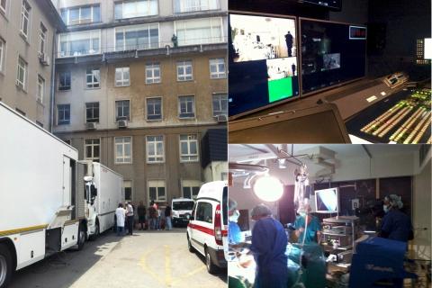 The broadcast set up at Santa Maria Hospital, Lisbon